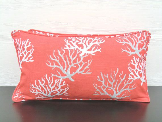 Coral lumbar cover, small chair pillow , nautical throw pillow, coral?