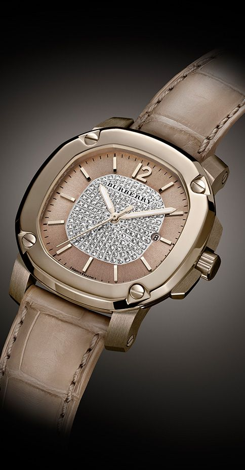 Precious materials including 18K trench gold and diamonds combine to create an intricate design defined by contrasts - The Britain Limited Edition Trench Gold watch for women from Burberry