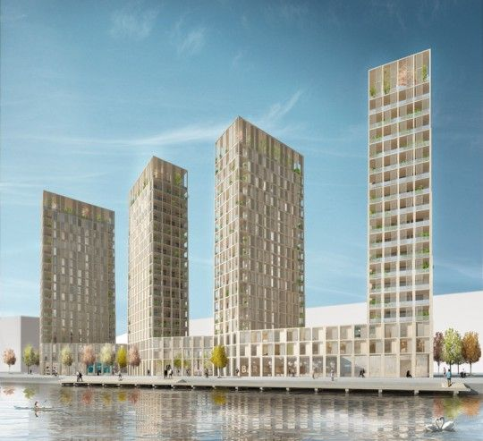 """I'm blown away that this 20-story apartment complex overlooking Stockholm's old harbor is going to be built entirely of solid wood """"from the frame, to the facade, finishes, and windows."""""""