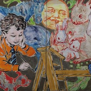 Boys Painting Diptych by David Bromley