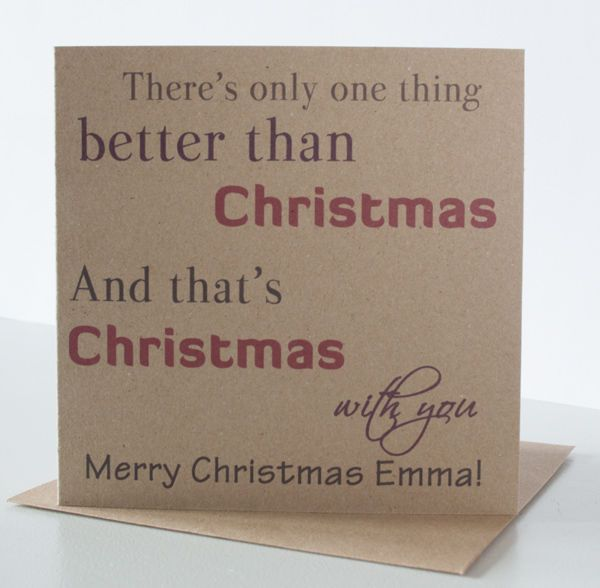 Personalised Christmas Card for wife, husband, boyfriend, girlfriend, friend. #PeppercornCards #Christmas