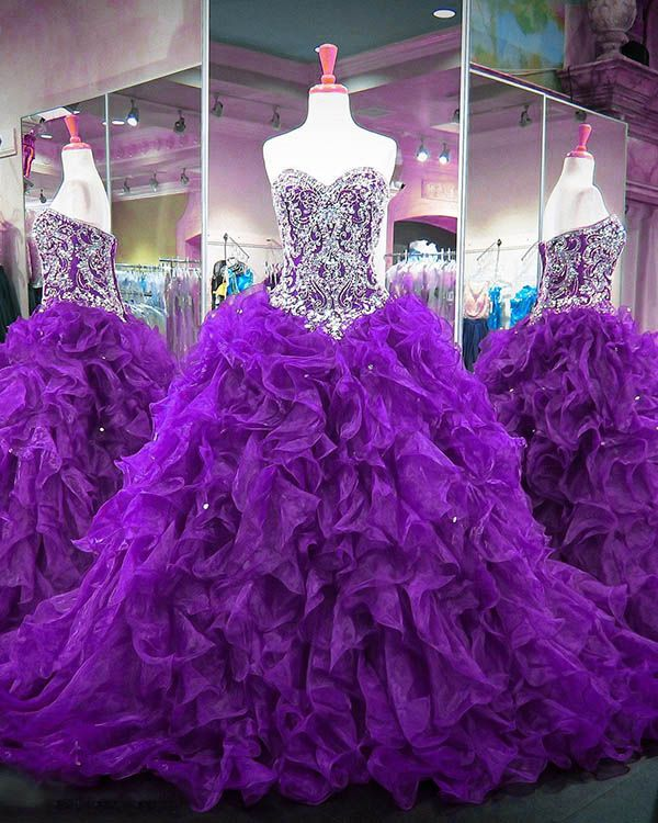 32256acf08d Purple Quinceanera Dresses 2018 Quinceanera Dresses Beaded Sparkly  Rhinestones Puffy Ruffles Ball Gown Sweet 16 Dress vestidos de quinceañera   purple ...