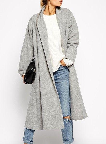 Grey Oversized Long Coat