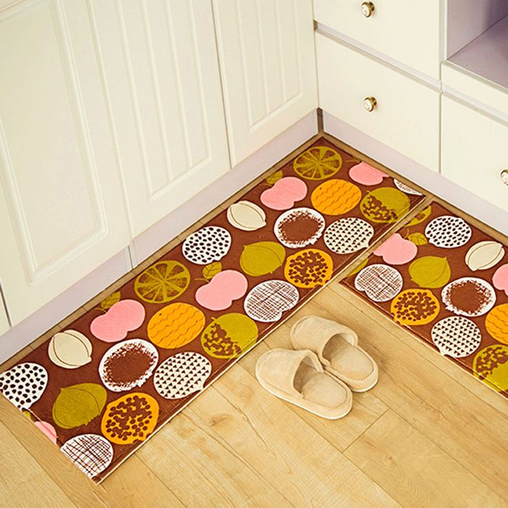 Anti-slip Rugs Peach Orange Fruits Printed Suede Floor Mat Kitchen Bathroom Carpet