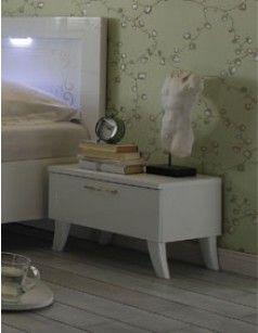 Chevet design blanc laqué adulte SISI 2 (lot de 2)