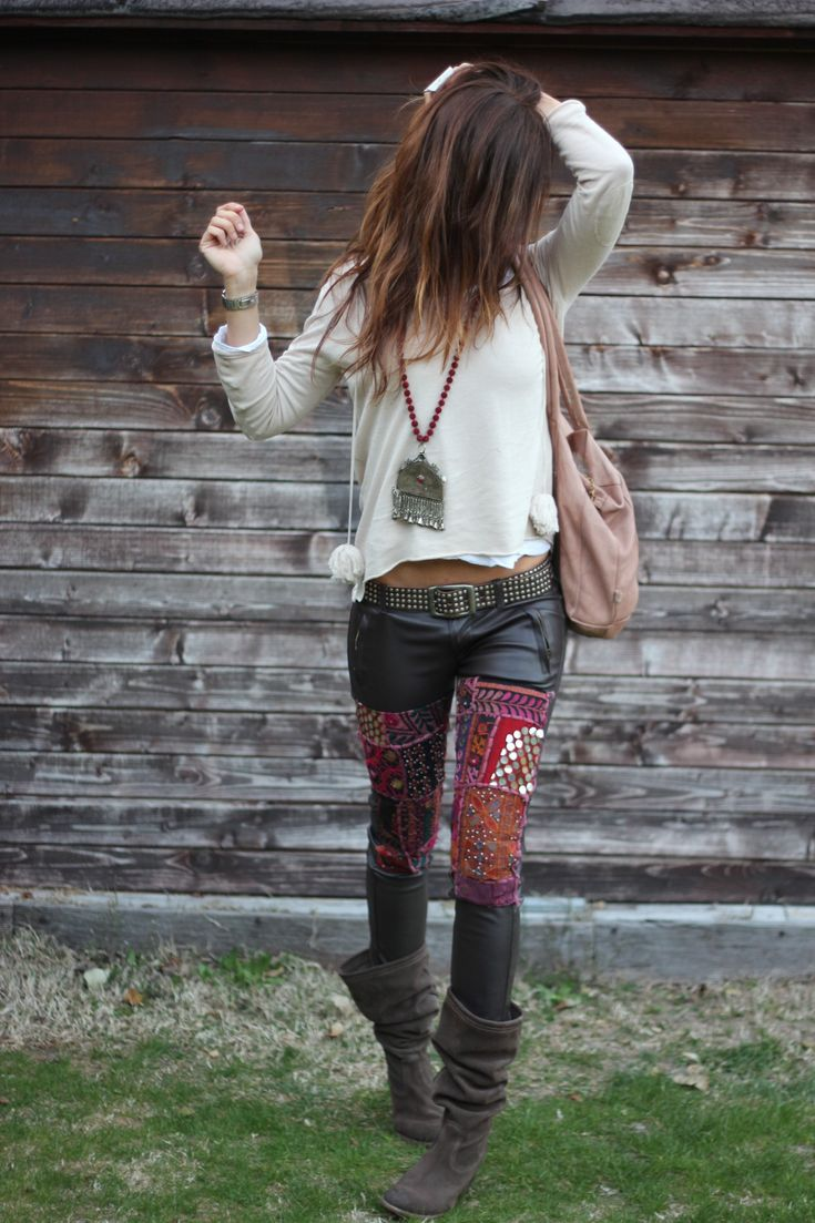 Embellished leather pants - hell yes! Mytenida rockin' this rad edgy boho outfit. love these pants!!