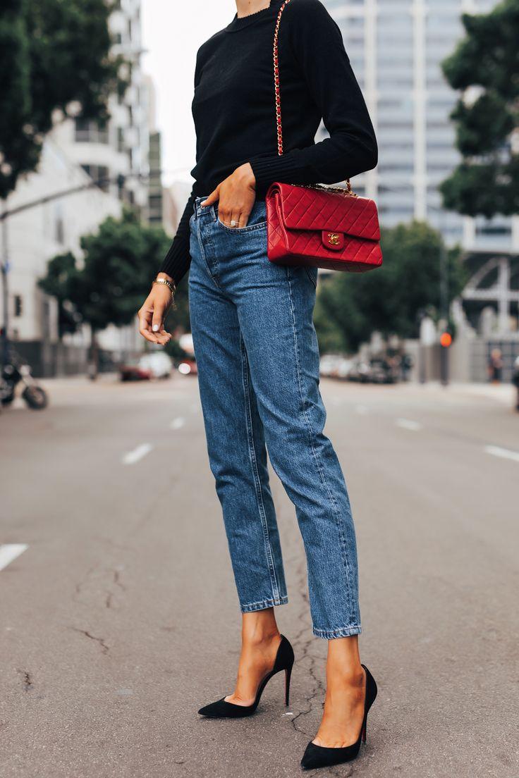 Fashion Jackson Wearing Everlane Black Cashmere Sweater Everlane Relaxed Jeans B…