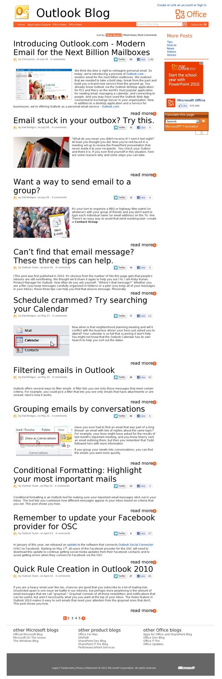 Outlook Blog  Microsoft  08.2012