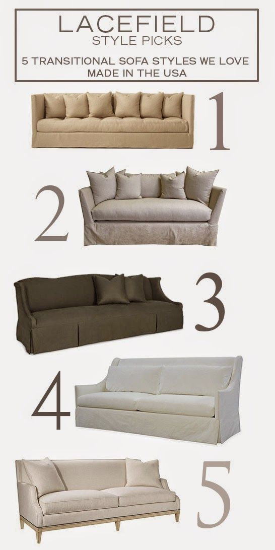 Style Picks: 5 Transitional Sofa Styles We Love by Lacefield Design Blog features CR Laine's Mitchell Sofa (#3) #madeintheUSA