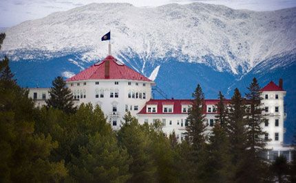 Bretton Woods, NH - Omni Mount Washington Resort opened in 1902 and features 200 guest rooms and suites, full service spa and salon, golf course and zip-line tours.  Many people say it is haunted and it was investigated by SciFi channel's Ghost Hunters.