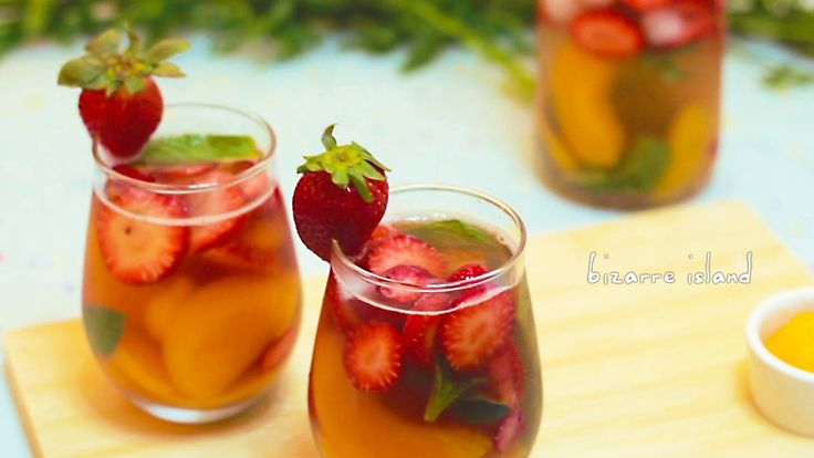 Jasmine Tea Fruit Punch #recipe Refreshing for the summer :) Strawberries and peaches!!