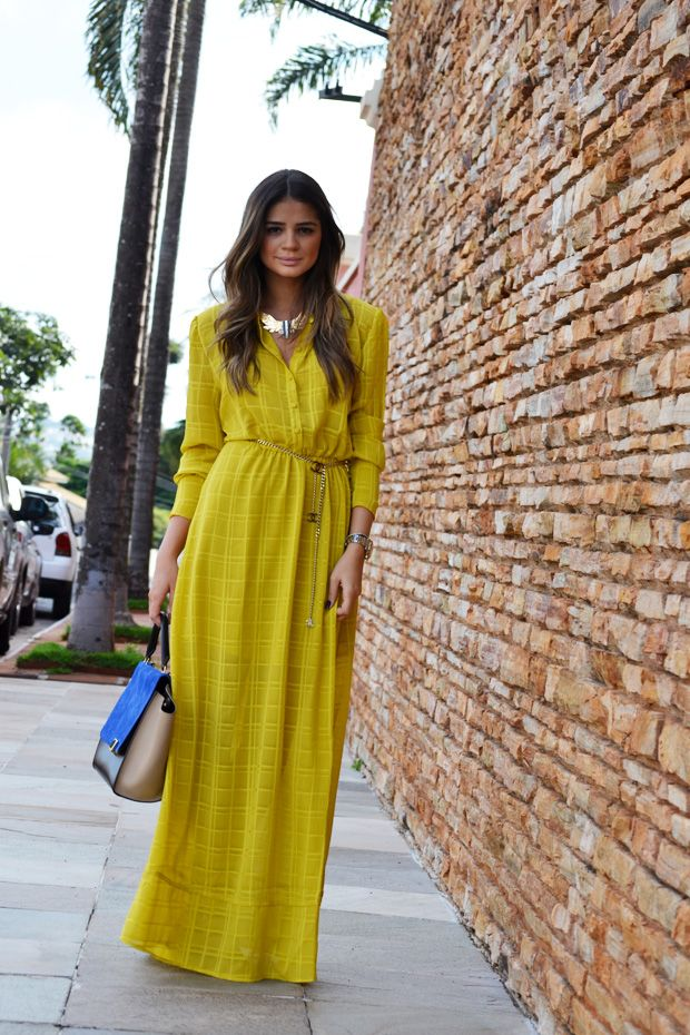 yellow maxi dress, chanel chain belt, and celine multicolor trapeze bag