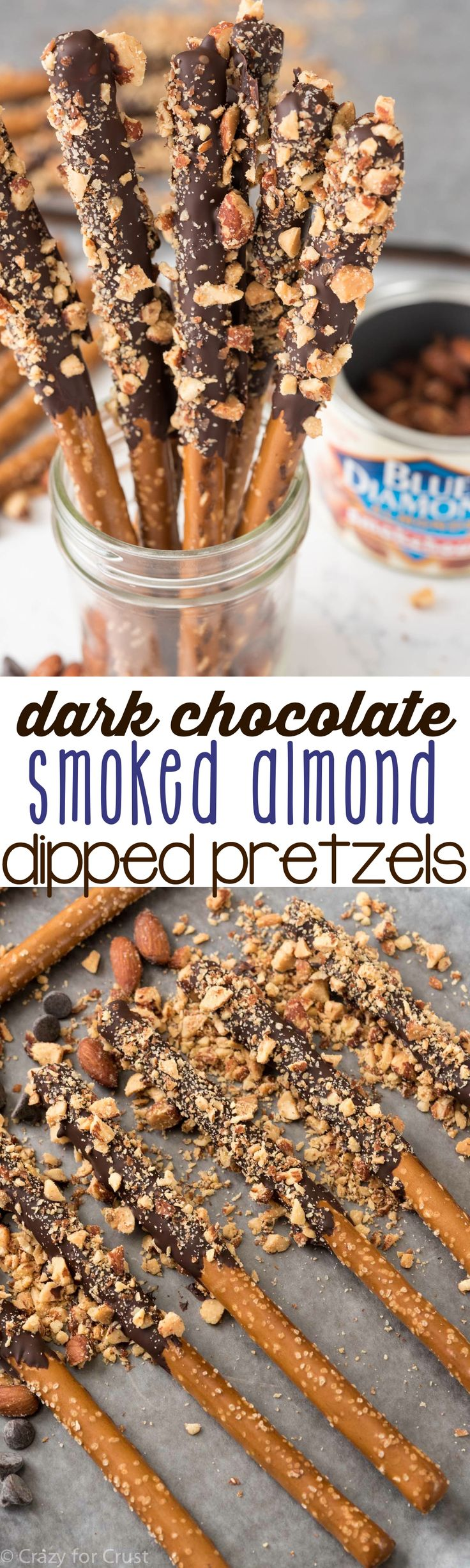 Dark Chocolate Almond Dipped Pretzels - Crazy for Crust