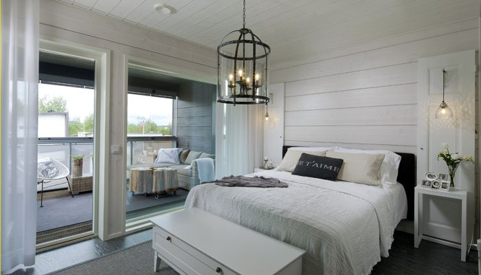 Honka Harmonia sisevaated (kliki see pilt suuremaks ja siis kliki veelkord). Pildil master bedroom, millel on siseaken elutuppa (e-mailis saadetud piltidelt on näha).