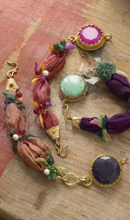 fabric and metal, mixed media jewellery