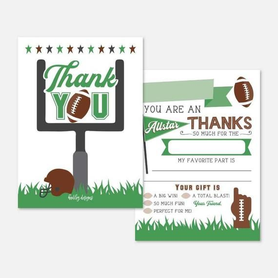 football kids party fill in the blank thank you card
