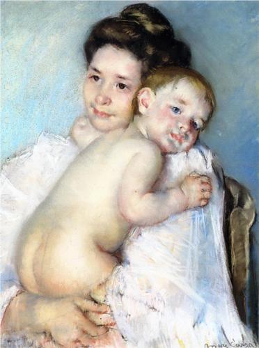Mother Berthe Holding Her Baby, Mary Cassatt, 1900