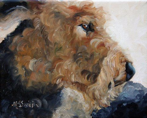 PRINT Airedale Terrier Dog Puppy Art Oil Painting / Mary Sparrow Smith