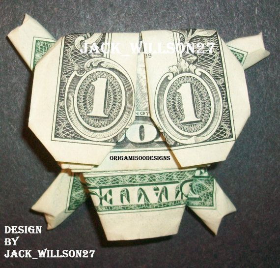 Money Origami SKULL With 4 Bones Great Gift by origami500designs, $6.99