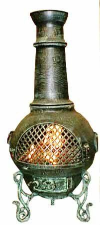 Blue Rooster - ALCH016GK-GA - Gatsby Cast Aluminum Chiminea w/Gas Kit - Gold Accent - Medium by Blue Rooster. $499.95. Non-Rusting Solid Cast Aluminum Alloy Body. Image May Vary - Please See Product Title for Actual Size and Color!. Detailed Design. Gas Kit with 7 Ceramic Logs. Safe Single Opening Traditional Chiminea. Big enough for full-size logs. This large outdoor chiminea makes a great centerpiece for entertaining friends and family.The Blue Rooster Compan...