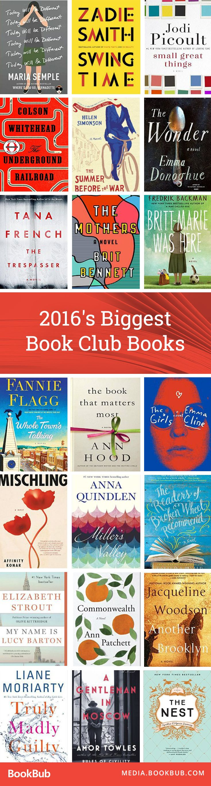 Consider trying one of these top picks of 2016 for your book club this year! This list from BookBub features The Underground Railroad by Colson Whitehead, Commonwealth by Ann Patchett, Swing Time by Zadie Smith, and many more.
