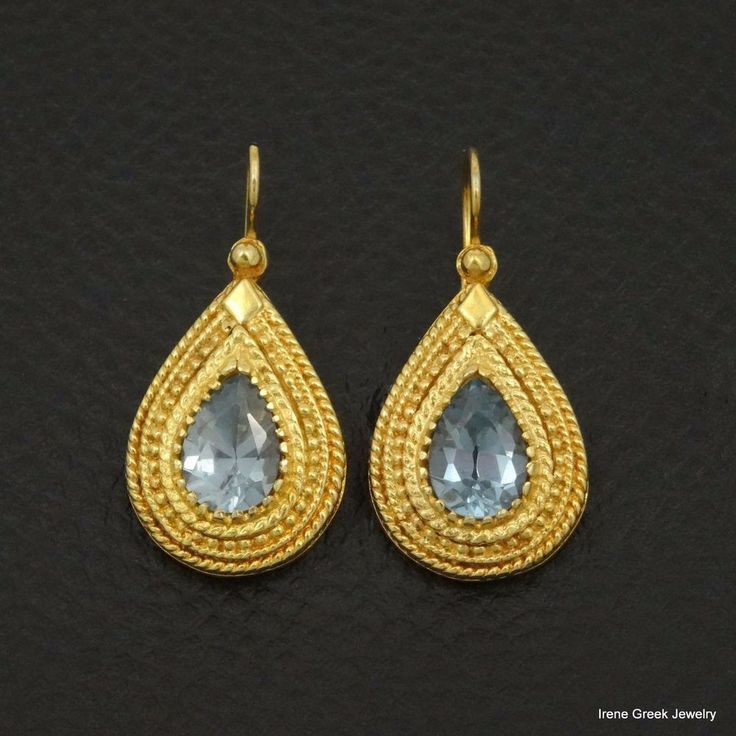 LUXURY BLUE TOPAZ CZ ETRUSCAN 925 STERLING SILVER 22K GOLD PLATED GREEK EARRINGS #IreneGreekJewelry #DropDangle