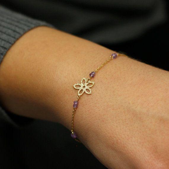 Amethyst bracelet with gold flower, solid gold, 14K gold bracelet, gift for her, bridesmaids bracelet, boho style, AB003