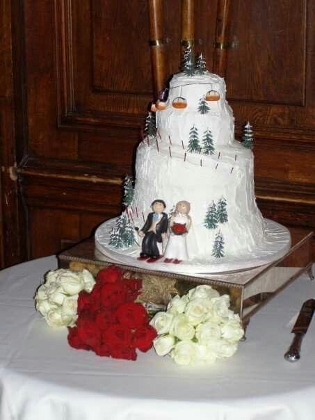 Ski Mountain Wedding Cake