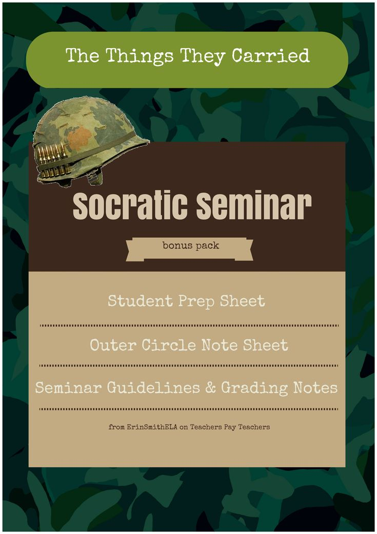 Socratic Seminar Pack for The Things They Carried.  Includes Student Prep Sheet, Outer Circle Note Sheet, Seminar Guidelines, and Grading Notes!