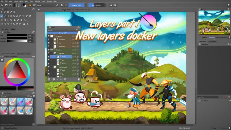 how to move layers in krita