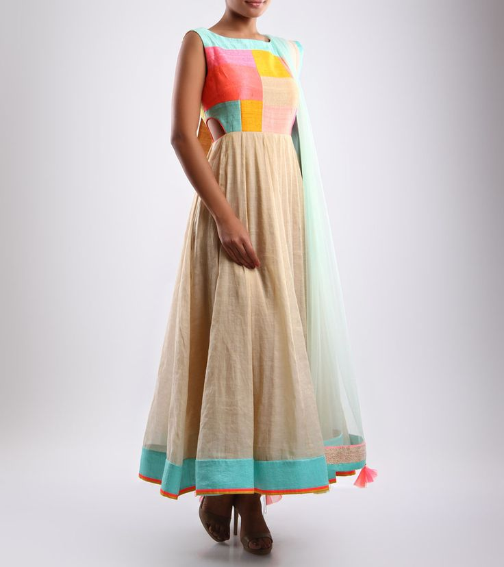 Multicoloured Embroidered Silk Anarkali Suit by Mohini Goyal