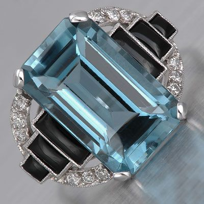 Art Deco Aquamarine Ring - I would say thank you if anyone wanted to get this for me for my birthday! I mean, it is my birthstone after all!