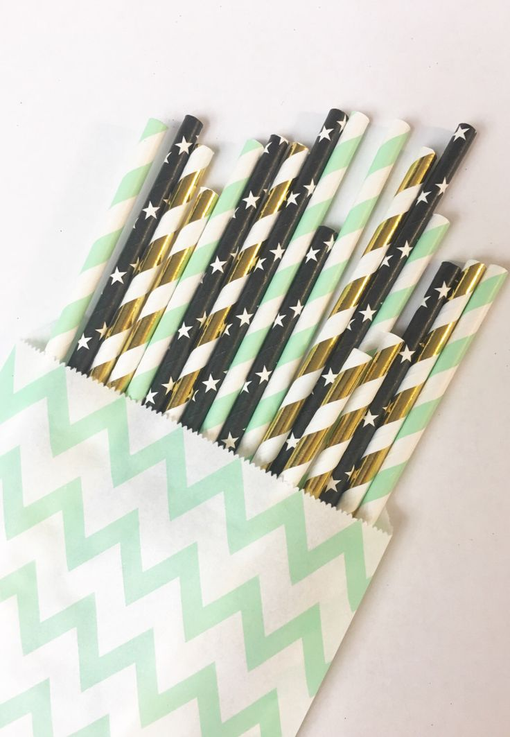 A personal favorite from my Etsy shop https://www.etsy.com/listing/463321862/mintnight-gold-straw-mixpaper-straws