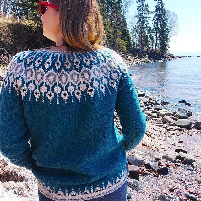I just love @brienne_moody's Telja knit in @brooklyntweed Shelter  Seeing people wearing their sweaters has got to be my most favorite part of designing! : @brienne_moody #knitlovewool #knit #knitting #knitstagram #knittersofinstagram #telja #brooklyntweed #strikking #strikke #tricot #slowfashion #yarn #wool #instaknit #knittinglove #icelandicsweater