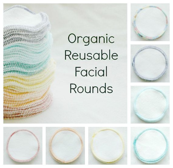Organic Reusable Facial Rounds-YOU CHOSE COLOR- organic bamboo fleece- reusable makeup remover pads- eco friendly- organic