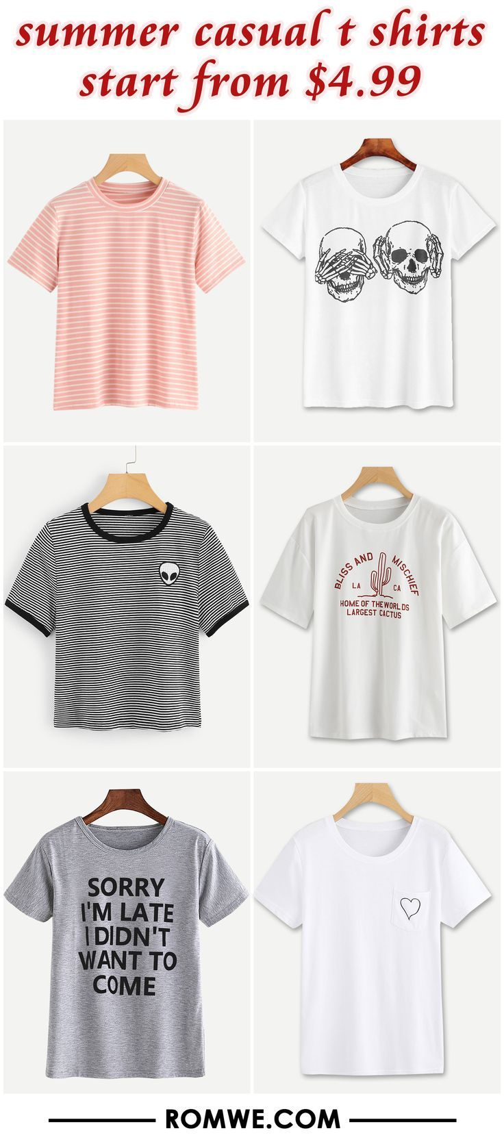 summer casual t shirts from $4.99 #Casual #shirts #summer