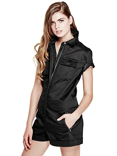 08d5f6ef398 GUESS Women s Zip-Front Romper Jet Black 6 Get  50 off instantly  Pay   28.40 upon approval for the Amazon Rewards Visa Card. Pointed collar Front  zipper ...