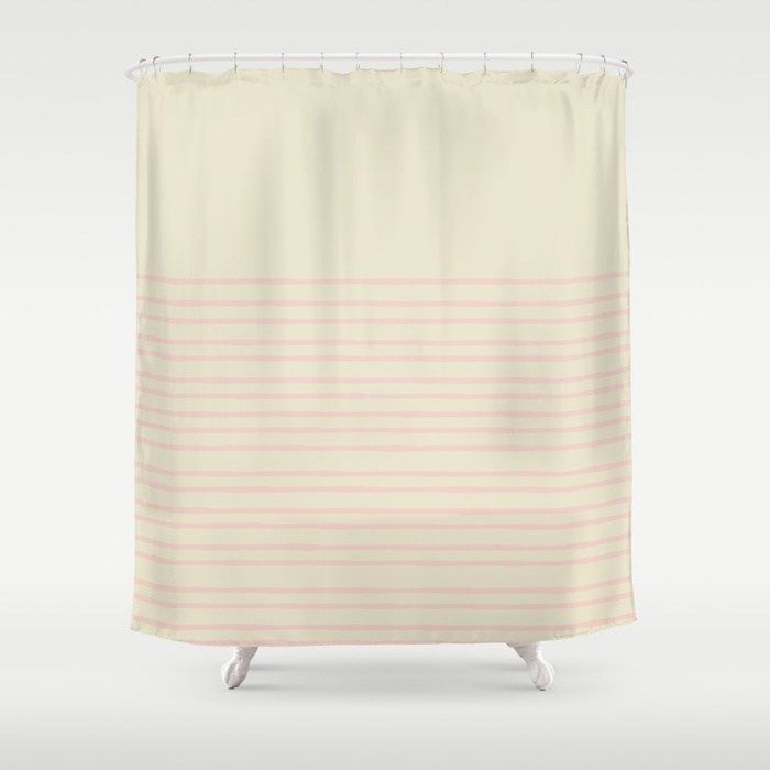 This Simple Modern Minimalist Pattern Of Painted Lines In Pale Millennial Pink Is Available On Show Striped Shower Curtains Laundry Room Design Bathroom Decor