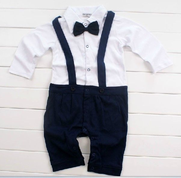 Free Ship 2014 Boy's Christening Suits Newborn Clothes Baby's Rompers Birthday's Suit Sets Children's Christen Gowns Navy #A12 US $32.98