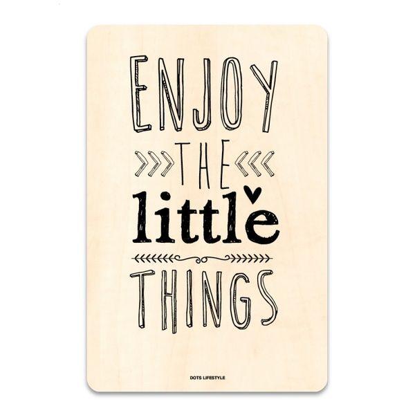 Houten poster - Enjoy the little things  van BERCADEAU op DaWanda.com