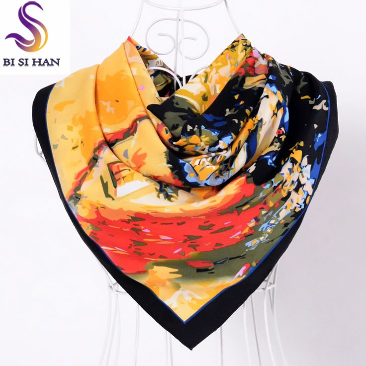 >> Click to Buy << Spring Autumn Black Silk Scarf Shawl 2017 New Brand Women Twill Large Square Scarves Wraps House Pattern Muslim Head Scarf Cape #Affiliate