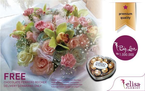 Bunga bouquet dari Elisa Florist Semarang... FREE DELIVERY AREA SEMARANG ONLY & CHOCOLATE FERRERO ROCHER!  Silahkan diorder gan untuk membahagiakan pasangan Agan saat valentine ini. (HANYA MENERIMA ORDERAN DENGAN TUJUAN KOTA SEMARANG UNTUK BUNGA ASLI / HIDUP) Pengiriman diluar kota Semarang akan menggunakan bunga artificial / plastik. Bisa juga request model tertentu diluar model yang disediakan.  Small Red (250K) / Mix Valentine (300K) / Chocorose (500K) / Medium Rose (800K) / Big Love ...