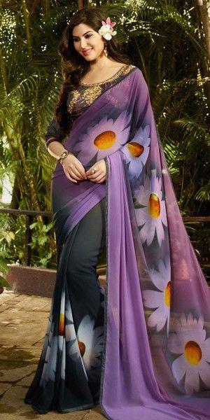 Teriffic Purple And Multi-Color Georgette Saree.