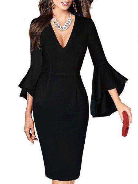 c0bbd272695d Buy Dresses For Women at Popjulia. Online Shopping Elegant Bell Sleeve  Sheath Ru…