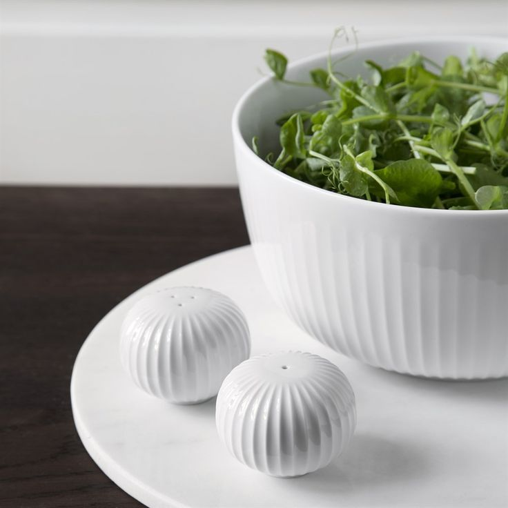 Kähler - Hammershøj salt/pebersæt - marmorgrå - hvis - køkkentilbehør - køkkenudstyr - service - bordopdækning