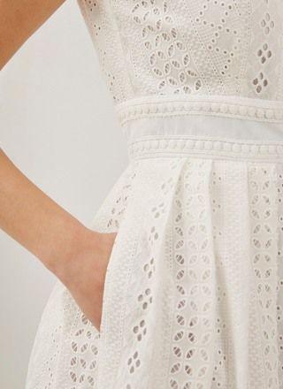 Vestido en tejido bordado - Vestidos | Adolfo Dominguez shop online