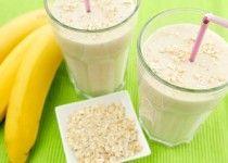 Banaan smoothie met havermout, ontbijt