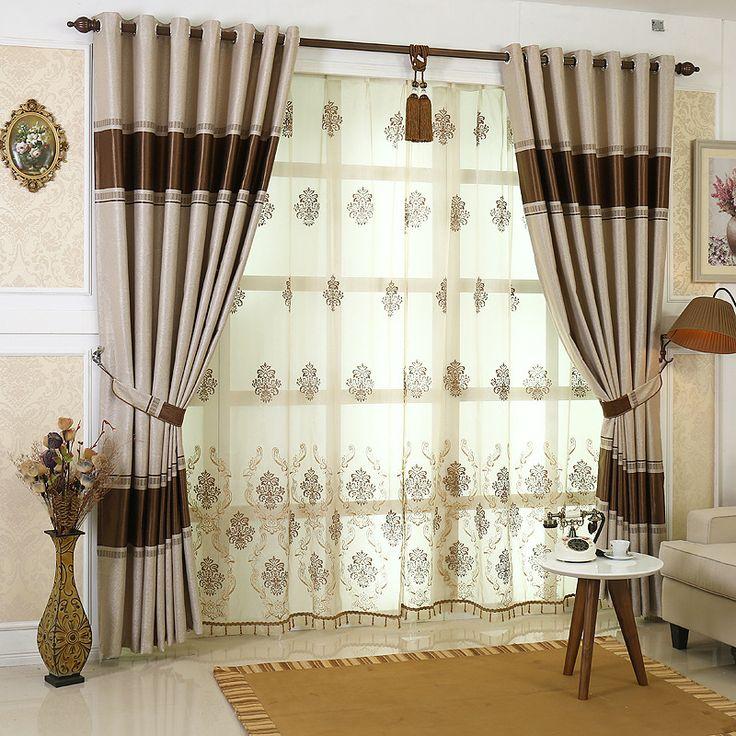 Европейский жаккардовые ткани Embroiderd вуаль занавес окна роскошный затемненные шторы для гостиной