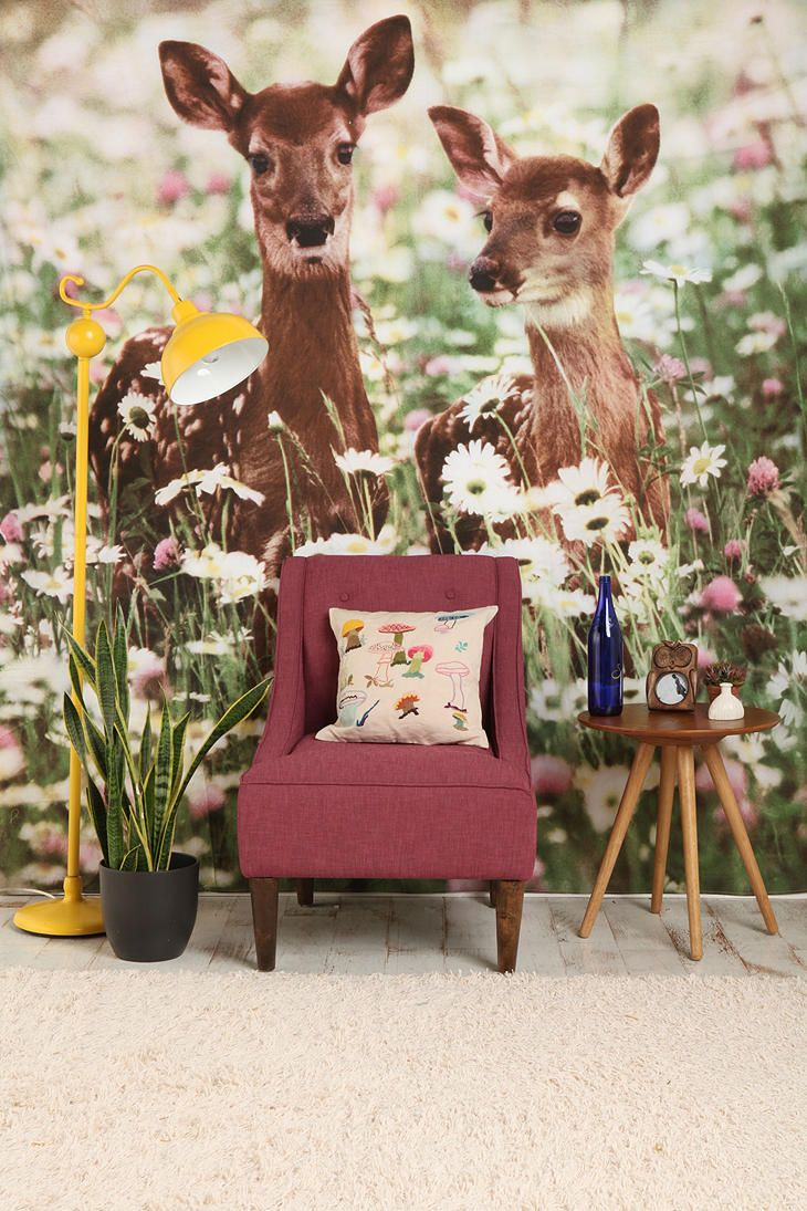 Gigantic print as wallpaper: Urban Outfitters, Flowers Fields, Wall Paper, Wall Murals, Fawns Tapestries, Cool Wall, Wall Tapestries, Yellow Lamps, Kids Rooms