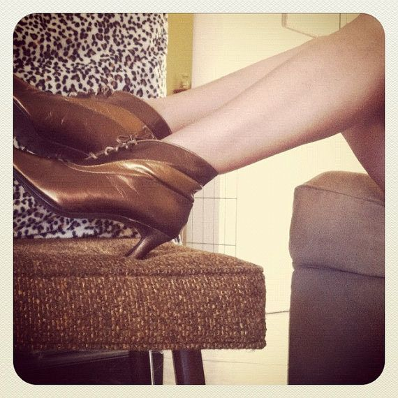 Brown Gold Bronze Leather Boots size 7D by OCVintageArtCouture, $25.99